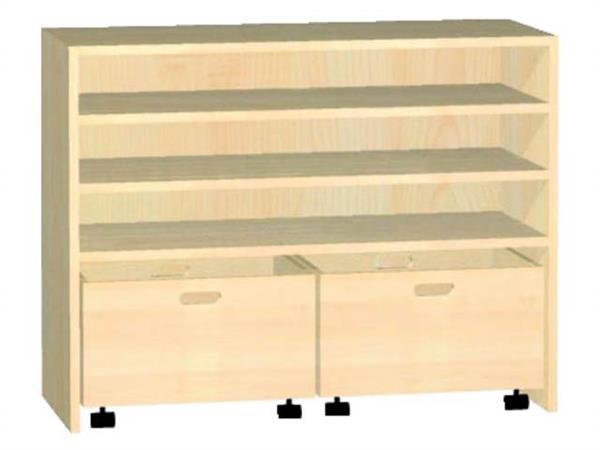 Kast voor rolbak 100 × 40 × 77 cm met 2 legplanken, beuken